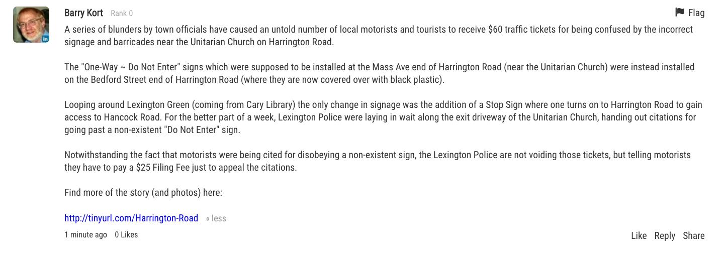 Comment in Lexington Minuteman